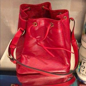 Red LOUIS Vuitton bucket bag